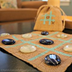 Tic Tac Toe! Made for home or to go! The polished sea glass stones and burlap board are sure to bring back beach vacation memories. The set comes in its own carrying bag, just tuck it in your beach bag and go! Makes a great STOCKING STUFFER too! http://familytravelsonabudget.com/shop/