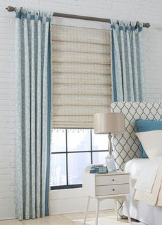 Uniquely Knotted Tab Top Draperies with Hobbled Roman Shades