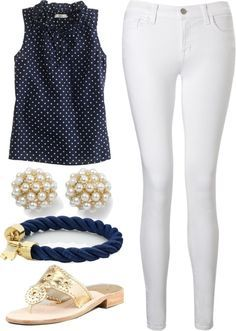 Preppy Summer Outfit by elizabethandre ❤ liked on Polyvore