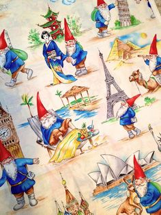 Rare GNOME Fabric ~ GNOME SOME TRAVELING Michael Miller Very HTF Gnomes #MichaelMiller #sewlutions