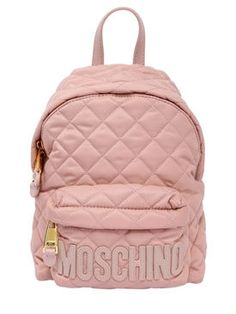 MOSCHINO - SMALL QUILTED NYLON BACKPACK - LIGHT PINK