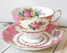 English floral tea cup  Royal Albert Lady Carlyle vintage teacup tea cups english teacup pink vintage teacup 252