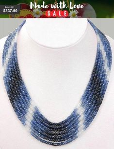 Items similar to 7 Strand Faceted Blue Sapphire Gemstone Beaded Necklace ,AAA Quality Beads,Sterling Silver Adjustable Clasp on Etsy Sapphire Necklace, Sapphire Gemstone, Gemstone Necklace, Blue Sapphire, Gold Necklace, Soutache Jewelry, Beaded Jewelry, Beaded Necklaces, Simple Necklace