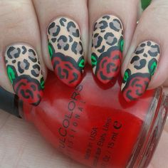 Leopard animal print rose nail art on my long natural stiletto nails