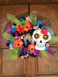 Day of the Dead Wreath by TheHoboPenguin on Etsy