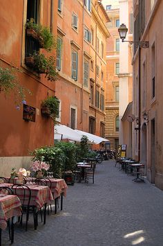 Little Side street in Rome , Italy