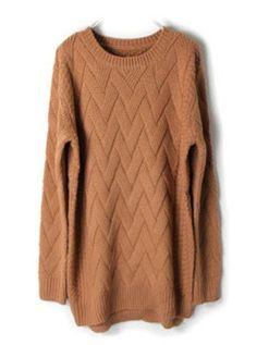Camel Batwing Long Sleeve Weave Pattern Sweater - Sheinside.com #SheInside