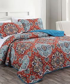 Coral Mandala Reversible Coverlet Set