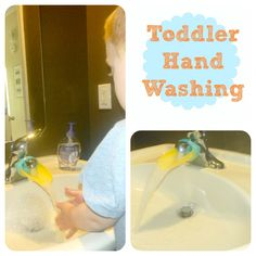 Aqua Duck faucet extender perfect for helping toddlers reach the water.  A must when potty training.