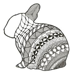 White faced Zentangle Bunny. From zannesbazaar.blogspot.com