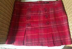 Beiza Made in USA red plaid skirt Large (size Plaid Skirts, Mini Skirts, Jane Norman, Cotton Skirt, Tartan Plaid, Bright Pink, Blue Denim, Size 12, Topshop