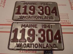 MAINE 1941 LICENSE PLATE PAIR 119-304