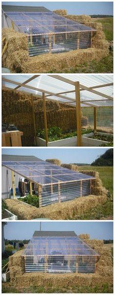 DIY Straw Bale Greenhouse #greenhousediy