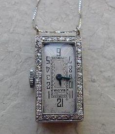 Platinum Diamond Bulova Pendant Watch Antique Jewelry Exchange