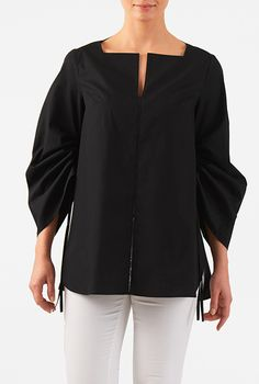 I <3 this Drawstring sleeve cotton poplin blouse from eShakti