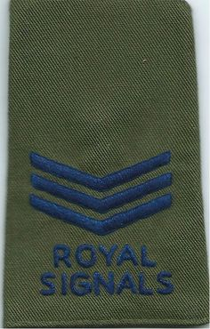 Royal Signals Sergeant Rank Slide - Olive NCO or Officer Cadet rank badge for sale Military Ranks, Military Uniforms, Royal Marines, Royal Air Force, British Army, Badges, Olive Green, Blue, Badge