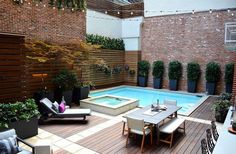 Backyard design ideas for your home. Landscaping, decks, patios, and more. Build the perfect outdoor living space Small Swimming Pools, Small Pools, Swimming Pools Backyard, Pool Spa, Swimming Pool Designs, Indoor Swimming, Small Backyard Design, Small Backyard Pools, Outdoor Pool