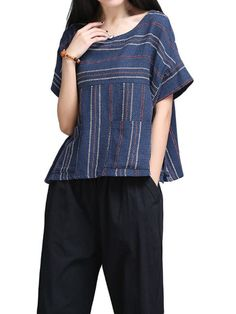 Women Short Sleeve O Neck Stripe Pockets Casual Loose T-shirt
