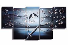 Together Forever Love Birds Canvas Oil Painting   5 piece   1268