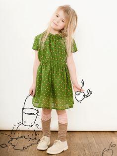 Katrina Tang Photography for Ukauka SS 14. Studio shoot with a girl in a green dress, animated apple, imaginnation #katrinatang #tangkatrina