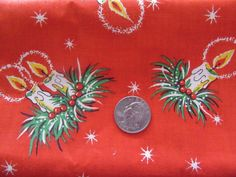 Vintage Christmas Candle Holly Cotton Fabric Novelty 1+ yard #fabric