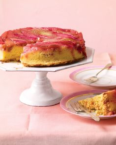 """See the """"Rhubarb Upside-Down Cake """" in our Martha Stewart's Favorite Dessert Recipes gallery. This beautiful cake has a crumb """"topping"""" that actually ends up on the bottom. Each bite has a surprisingly crunchy texture. Mothers Day Desserts, Just Desserts, Delicious Desserts, Dessert Recipes, Dessert Ideas, Frosting Recipes, Cupcake Recipes, Yummy Food, Rhubarb Upside Down Cake"""