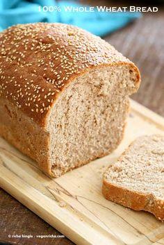 Whole Wheat Bread recipe. The best All Whole wheat Sandwich Bread. How to make 100 percent Wheat bread. Easy, soft, moist, not dense. Dairy-free Vegan bread recipe Whole Wheat Bread Recipe - Vegan Richa Vegan Whole Wheat Bread Recipe, 100 Whole Wheat Bread, Wholemeal Bread Recipe, 100 Percent Whole Wheat Bread Recipe, Vegan Bread Recipe No Yeast, Vegan Sandwich Bread Recipe, Organic Bread Recipe, Honey Wheat Bread, Bread Machine Recipes