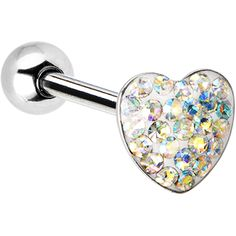 Dome Aurora Heart Gem Barbell Tongue Ring | Body Candy Body Jewelry #bodycandy #piercings