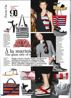 Vogue Italia, May 2014 The glam side of stripes! #stripes #wedbes #ballinshoes #luxuryshoes #sandal