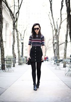 Black denim skirt outfit is every wardrobe staple. You can style it as a casual outfit or an elegant outfit. These outfit ideas are an inspiration. Button Up Skirt Outfit, Black Button Up Skirt, Black Skirt Outfits, Winter Skirt Outfit, Button Up Skirts, Fall Winter Outfits, Winter Fashion, Casual Outfits, Cute Outfits