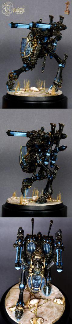 Warhammer 40k Eldar War Walker, great paint job - especially the light effects!