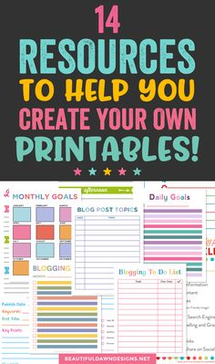 14 Resources to Help You Create Your Own Printables - Beautiful Dawn Creating printables is a useful Planner Pages, Blog Planner, Planner Stickers, 2015 Planner, Work Planner, Color Coding Planner, Kids Planner, Project Planner, Teacher Planner