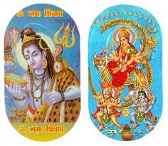 Shiva Taking Poison and Vaishno Devi with Hanuman and Bhairav - Set of Two Stickers (Hindu Picture on Sticker) Vaishno Devi, Mata Rani, Mother Goddess, Hanuman, Bengal, Shiva, Princess Zelda, Stickers, King