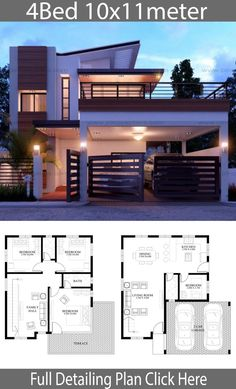 haus design Modern home design with 4 bedrooms. Style modernHouse description:Two Car Parking and gardenGround Level: 1 Bedrooms, Living room, Dining room 2 Storey House Design, Duplex House Plans, My House Plans, Bungalow House Design, Two Storey House Plans, Bungalow Designs, Bungalow Floor Plans, One Storey House, Bungalow Exterior