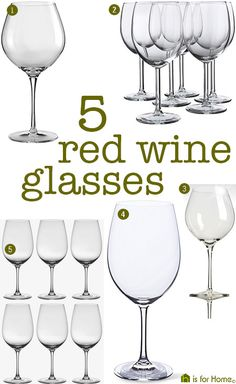 selection of 5 types of red wine glasses | H is for Home