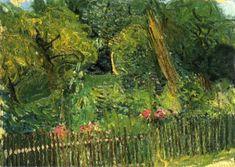 Richard Gerstl, Blick über einen Gartenzaun, July/August 1907, oil on canvas adhered to board, 35.3 x 49.7 cm, Leopold Museum, Vienna, Austria