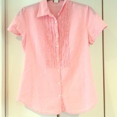 JCrew pink cotton pinstripe shirt w ruffle detail Pretty in pink! J.Crew cotton top. Great w white skinnies, shorts or skirt! EEUC! J. Crew Tops Button Down Shirts