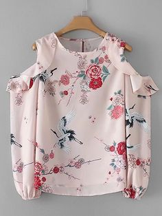 Shop Cold Shoulder Flounce Floral Blouse at ROMWE, discover more fashion styles online. Cute Outfits For Kids, Casual Fall Outfits, African Fashion Dresses, Fashion Outfits, Bluse Outfit, Floral Blouse, Ruffle Blouse, Ruffle Collar, Collar Blouse