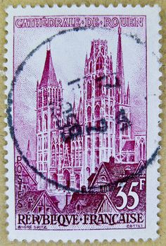 stamp France 35 f Cathedrale de Rouen church timbre Republique Francaise 35 F postage french stamp France postes timbres postage selo França francobolli Francia sello 邮票 法国 yóupiào Fǎguó почтовая марка Франция ongkos kirim perangko Perancis رسوم البريد طو French Artwork, Money Notes, Stamp Dealers, Stamp Collecting, Postage Stamps, Orchids, Greeting Cards, Coins, Patterns