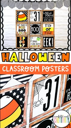 Easily decorate your classroom for Halloween with these printable posters! These Halloween posters work beautifully as a bulletin board display, door decorations, or a distance learning backdrop! Inspirational Bulletin Boards, Inspirational Classroom Posters, Classroom Design, Classroom Decor, Teacher Bulletin Boards, Farmhouse Halloween, Halloween Poster, Decorate Your Room, Quote Posters