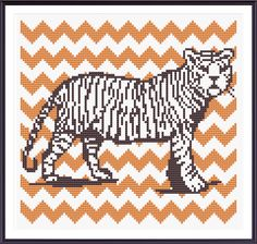 Tiger with Orange Chevron Cross Stitch Pattern Instant Download