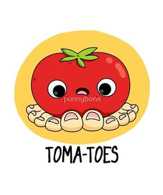 'Toma-toes Vegetable Food Pun' Sticker by punnybone Cute Food Drawings, Kawaii Drawings, Veggie Puns, Veggie Quotes, Bee Rocks, Funny Food Puns, Cute Puns, Dibujos Cute, Bullet Journal Ideas Pages