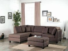 online shopping for Poundex Bobkona Dervon Linen-Like Left Right Hand Chaise Sectional Ottoman Set, Chocolate from top store. See new offer for Poundex Bobkona Dervon Linen-Like Left Right Hand Chaise Sectional Ottoman Set, Chocolate Sectional Sofa With Chaise, Leather Sectional Sofas, Living Room Sectional, Modern Sectional, Living Room Furniture, Couches, Fabric Sectional, Couch Sofa, Living Rooms