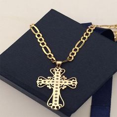 10k Yellow Gold Trio Tone Religious Jesus Crucifix Pendant 22 Inch Figaro Chain by RG&D