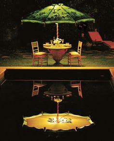 Hand painted patio umbrella with built in lighting by Hedge Row Studios Garden Umbrella Lighting, Umbrella Lights, Outdoor Landscaping, Outdoor Gardens, Outdoor Spaces, Outdoor Decor, Outdoor Stuff, Outdoor Ideas, Outdoor Lighting