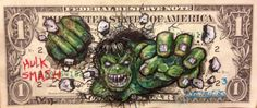 money art The Hulk Avengers Hulk, Graffiti Artwork, Street Art Graffiti, Aztec Tattoo Designs, Doodle, Steampunk Furniture, Satirical Illustrations, Money Tattoo, Grunge Art