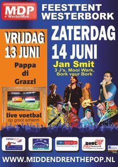 Midden Drenthe Pop 2014 met op vrijdag 13 juni, Pappa di Grazzi en live voetbal op groot scherm! En op zaterdag 14 juni, de traditionele Hollandse avond met Jan Smit, 3Js, MOOI WARK en Bork veur Bork! Kaarten voor dit fantastische evenement zijn binnenkort weer te winnen op Koopplein.nl! Dus hou Koopplein.nl goed in de gaten! http://koopplein.nl/middendrenthe/2428887/nick-en-simon-jan-smit-mooi-wark-op-midden-drenthe-pop.html