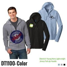 http://gobrandspirit.com/apparel-caps-and-hats/apparel-athletic/printed-young-men-s-district-lightweight-jersey-full-zip-hoodie-color/p/DB0AF8FF-30F1-43D5-BC47-1FE73E88FFBD  Printed Young Men's District® Lightweight Jersey Full Zip Hoodie (Color) - Custom Gift Items  # DT1100-COLOR 5 Day Production 28.34 - 30.01 | Min. Qty: 12  The easy choice for laid back lightweight and layer able style 4 4 Oz 60 40 ring spun combed cotton poly 30 Singles with dyed to match drawstrings