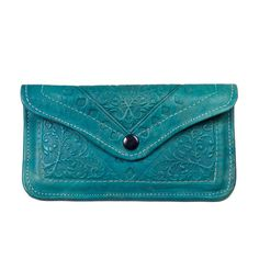 Teal / Turquoise Leather Embossed Wallet / Pouch. This is gorgeous!