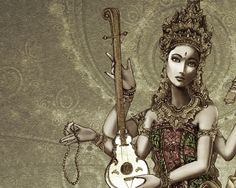 Saraswati - Hindu Goddess of words, the creator of the arts including music, dancing, poetry, beauty, and truth.